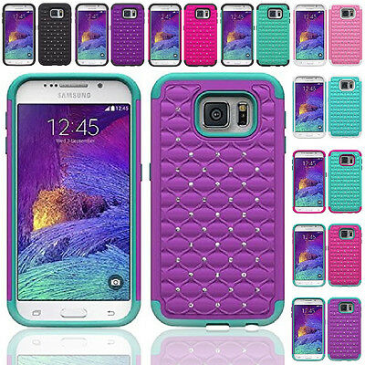 For Samsung Galaxy S6 Shockproof Hybrid Hard Diamond Bling Case Skin Phone Cover
