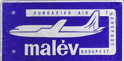Airline Luggage Label MALEV Hungarian Air Transport Foil Jet Budapest Baggage