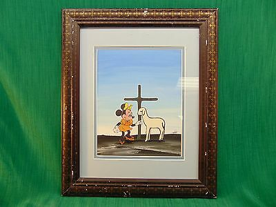 "Framed WTF POP ART Collage Painting "" Minnie and the Lamb of God"" By G.Lett"