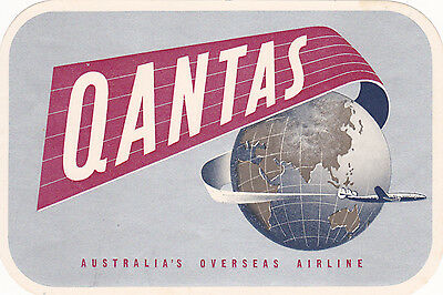 Vintage Airline Label Luggage QANTAS Overseas Large Matte Silver globe with jet