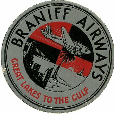 Vintage Airline Luggage Label BRANIFF AIRWAYS Great Lakes to the Gulf matte silv