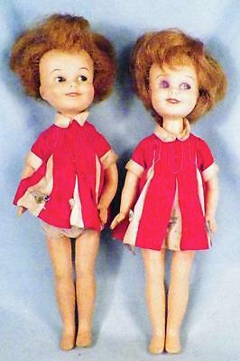 2 Penny Brite Dolls Deluxe Reading Vinyl in Red Dress Vintage