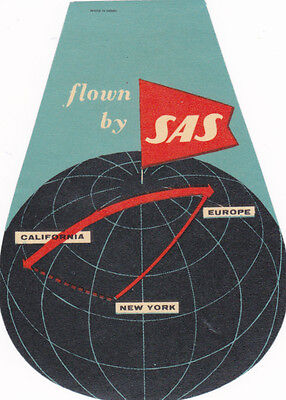 Vintage Airline Luggage Label Flown By SAS California Europe NY globe diecut #IM