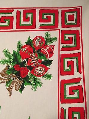 Vtg Christmas Tablecloth Cotton Rectangle Shiny Brite Ornaments Abstract 60x88