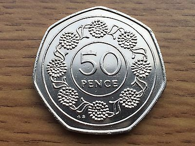 1988 Gibraltar 50p - Candy Tuff Flower - Fifty Pence Coin - AB Rare