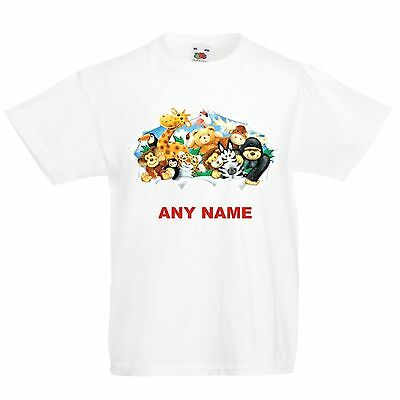 Personalised Kids ANIMALS T Shirt. Choice of T Shirt Colours. Free Postage.