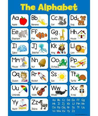 A3 Learn The Alphabet - Blue Childrens A3 Wall Chart Educational Childs Poster