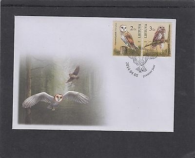 Lithuania 2014 Owls First Day Cover FDC