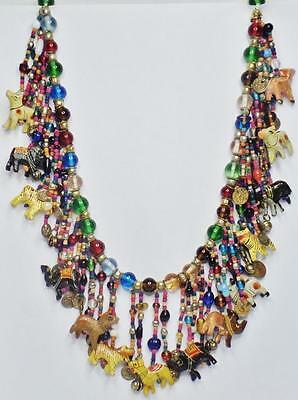 Fabulous Vintage African Animal Clay Venetian Glass Coin Bell Fringe Necklace