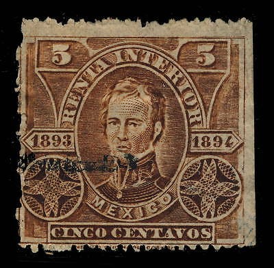 "MEXICO - 1893/4 5c YELLOW BROWN ""RENTA INTERIOR"" FISCAL / REVENUE STAMP USED"