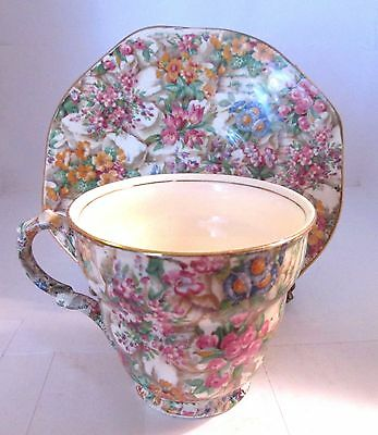 Antique James Kent Chintz Crazy Paving Cup and Saucer