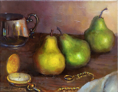Pocket watch with Bartlett Pears 11x14 in. Original Oil on canvas HALL GROAT II