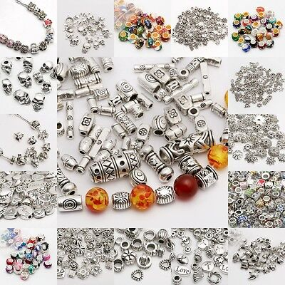 Wholesale 50/100pcs Silver Plated Loose Spacer Beads Charms Jewelry Making Diy
