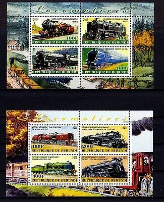 Burundi - 2011 - Train - Locomotive - Steam - Railroad - 2 X Mint S/sheets!