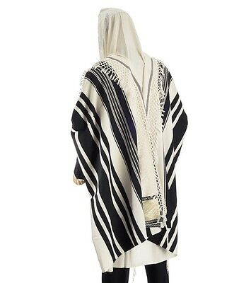 "Tallit Prayer Shawl 100% Wool Special Handmade Yemenite Fringe M-50 Size 47""-67"""