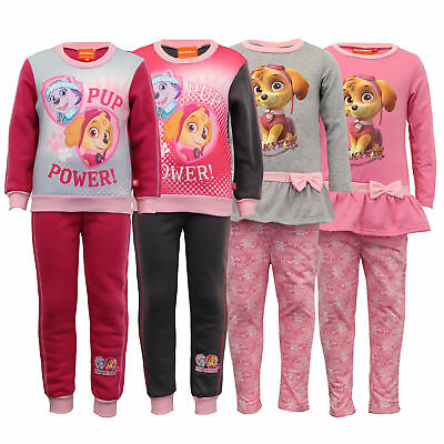 Girls Paw Patrol Set Nickelodeon Kids Sweatshirt Bottoms Bow Fleece Lined