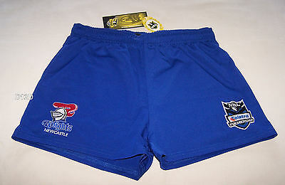 Newcastle Knights NRL Boys Blue Embroidered Rugby Shorts Size 16 New