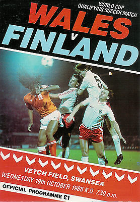 Wales v Finland - World Cup Qualifier 19 Oct 1988 Vetch Field,FOOTBALL PROGRAMME
