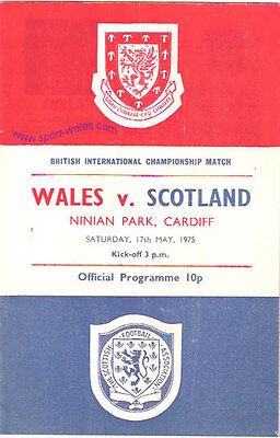 Wales v Scotland 17 May 1975 Ninian Park FOOTBALL PROGRAMME