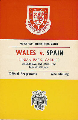 Wales v Spain - World Cup Qualifier 19 April 1961 FOOTBALL PROGRAMME