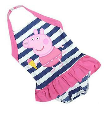 New Ex M&S Peppa Pig Navy Blue & White Striped Swimsuit Swimming Costume 12m-7y