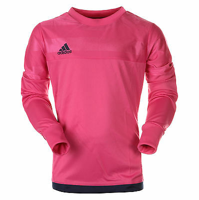 adidas Boy's Entry Goalkeeper Jersey Long Padded Sleeves GK Shirt Top Match Pink
