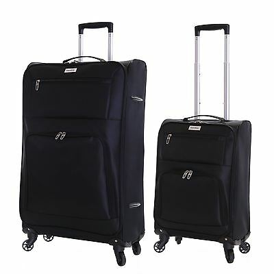 Set of 2 Ultra Lightweight 4 Wheeled Travel Luggage Trolleys Suitcases Case Bags