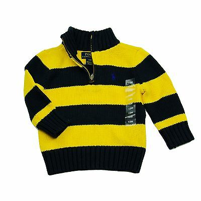 NWT New Polo Ralph Lauren Toddler Baby Boys Pony Striped Henley Sweater