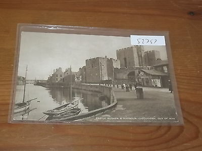 Old ISLE OF MAN  postcard our ref #52757 CASTLE RUSHEN AND HARBOUR CASTLETOWN
