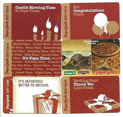 Lot (6) Different Papa Gino's Gift Cards No $ Value Collectible Papa Ginos