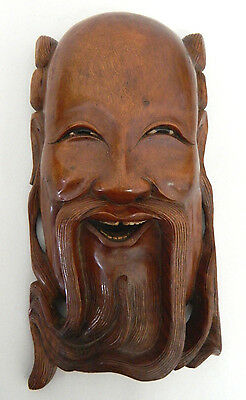 Decorative Wooden Carved Chinese Mask Wall Hanging Oriental Asian Mans Face #4