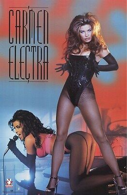 CARMEN ELECTRA ~ FISHNET STOCKINGS ~ 23x35 PINUP POSTER ~ NEW/ROLLED OOP!