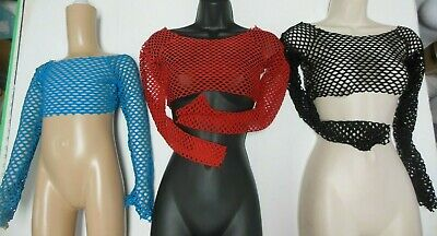 NWT 3 colors LongSleeve Open Mesh Spandex Crop Top Dance Theatrical Costume Top