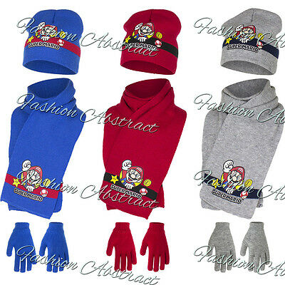 New Boys Officially Licensed Super Mario Winter Hat With Gloves & Scarf