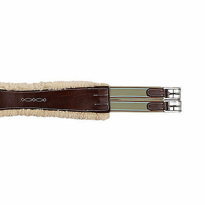 """NEW M. Toulouse Double Elastic Removable Sheepskin Girth - Chocolate - 56"""""""