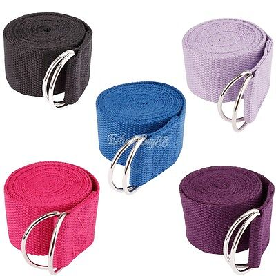 180CM D-Ring Cotton Yoga Strap Training Belt Waist Leg Fitness Exercise Gym Belt