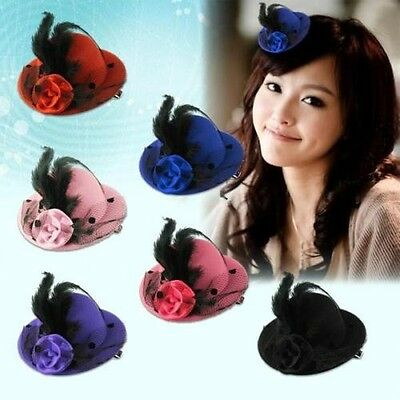 Elegant Mini Top Feather Hat Fascinator Hair Clip Party Costume