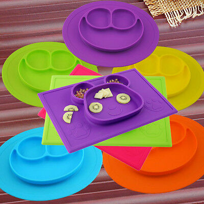 Baby Childs Silicone Placemat Suction Plates One-Piece Feeding Dishes Bowl