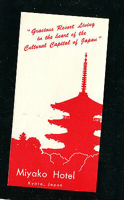 Vintage Hotel Luggage Label MIYAKO HOTEL Kyoto Japan RED Pagoda