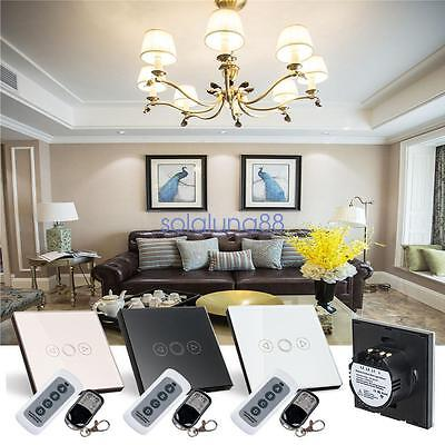 1Gang Remote Control Touch Dimmer Crystal Glass Panel Home Wall Light Switch