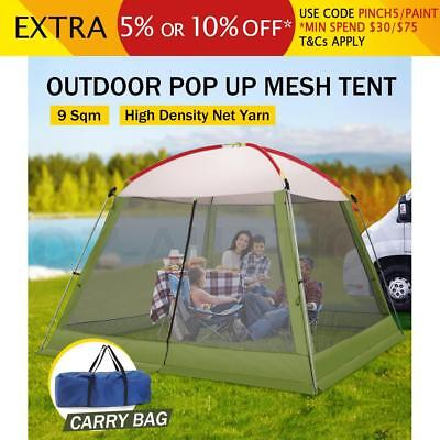 3x3M Green Outdoor Enclosed Pop-Up Mesh Walled Picnic Camping Tent Travel Sleep
