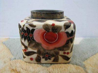 Antique Japanese Porcelain Hand-Painted Flower Inkwell