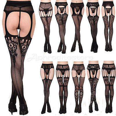 Womens Sexy Lady Lace Top Thigh-Highs Stockings Socks + Garter Belt Suspender