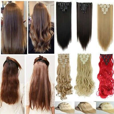 UK Real Thick Full Head Clip In Hair Extensions Wavy Straight Hair Piece 8 Pcs