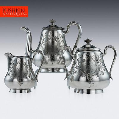 ANTIQUE 19thC IMPERIAL RUSSIAN SOLID SILVER 3PS TEA SET, MOSCOW c.1900