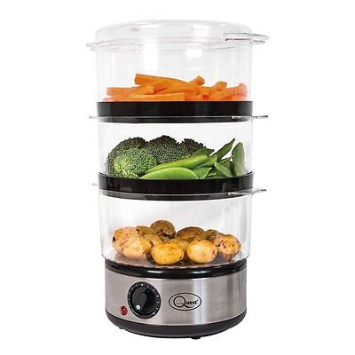 Quest 3 Tier Food Steamer Stainless Steel Non Slip 400 Watt 6L With Rice Bowl