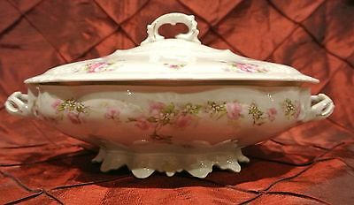 Vintage Habsburg MZ Austria Pink Flowers Oval Covered Vegetable Bowl