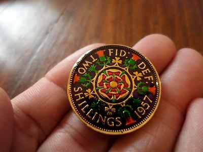 Vintage Enamelled Two Shilling Coin 1957. 60Th Birthday Present. Christmas Gift