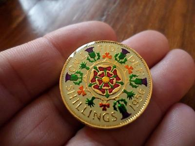 Vintage Enamelled Two Shilling Coin 1956. Birthday Present. Xmas Christmas Gift