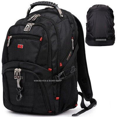 "Travel Gear Men 17"" 15 Laptop Backpack Waterproof School Rucksack Outdoor Bag D1"